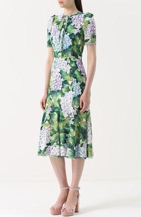 Платье с цветочным принтом и воротником аскот Dolce & Gabbana зеленое | Фото №3