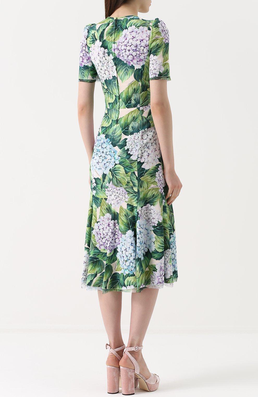 Платье с цветочным принтом и воротником аскот Dolce & Gabbana зеленое | Фото №4