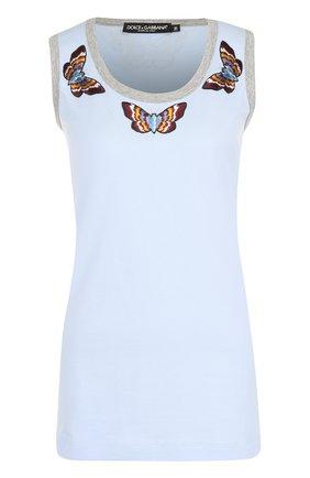 Топ с вышивкой в виде бабочек Dolce & Gabbana голубой | Фото №1