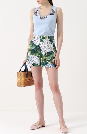 Топ с вышивкой в виде бабочек Dolce & Gabbana голубой | Фото №2
