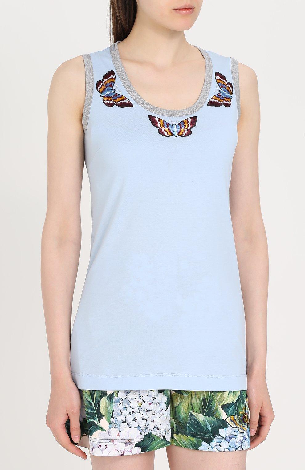 Топ с вышивкой в виде бабочек Dolce & Gabbana голубой | Фото №3