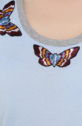 Топ с вышивкой в виде бабочек Dolce & Gabbana голубой | Фото №5