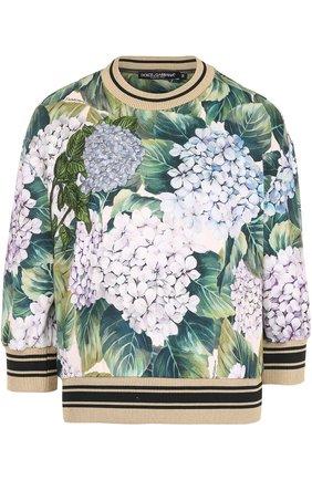 Свитшот с цветочным принтом и укороченным рукавом Dolce & Gabbana зеленый | Фото №1