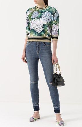 Свитшот с цветочным принтом и укороченным рукавом Dolce & Gabbana зеленый | Фото №2