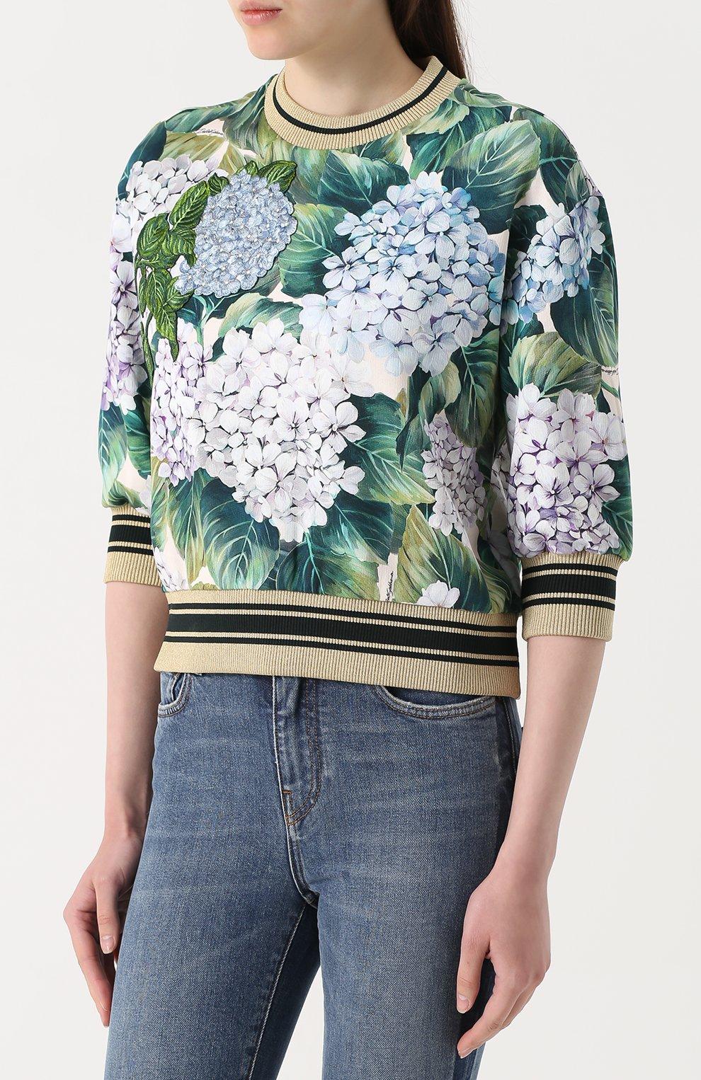 Свитшот с цветочным принтом и укороченным рукавом Dolce & Gabbana зеленый | Фото №3