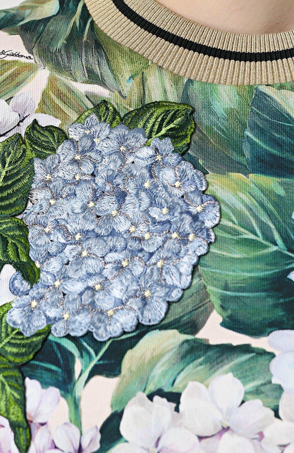 Свитшот с цветочным принтом и укороченным рукавом Dolce & Gabbana зеленый | Фото №5
