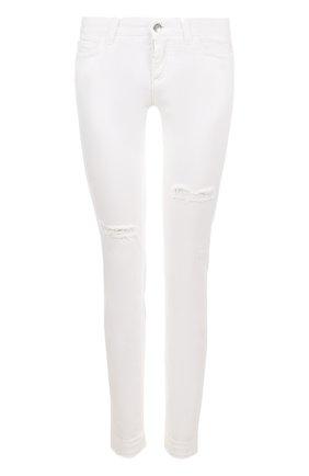 Джинсы-скинни с потертостями Dolce & Gabbana белые | Фото №1
