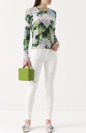 Джинсы-скинни с потертостями Dolce & Gabbana белые | Фото №2