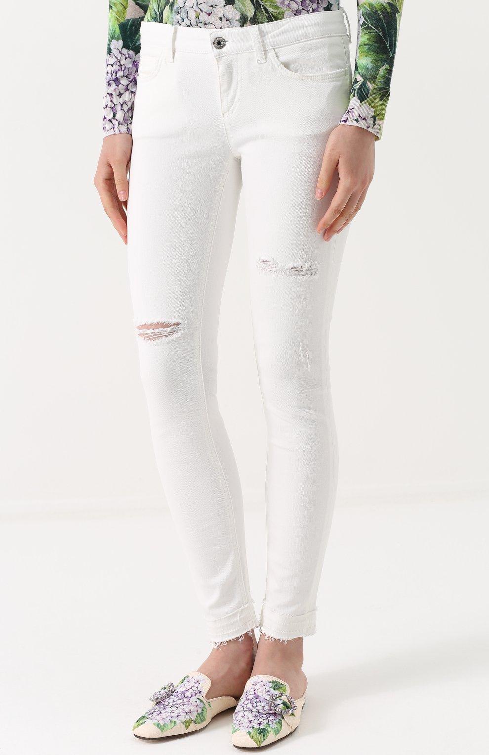 Джинсы-скинни с потертостями Dolce & Gabbana белые | Фото №3