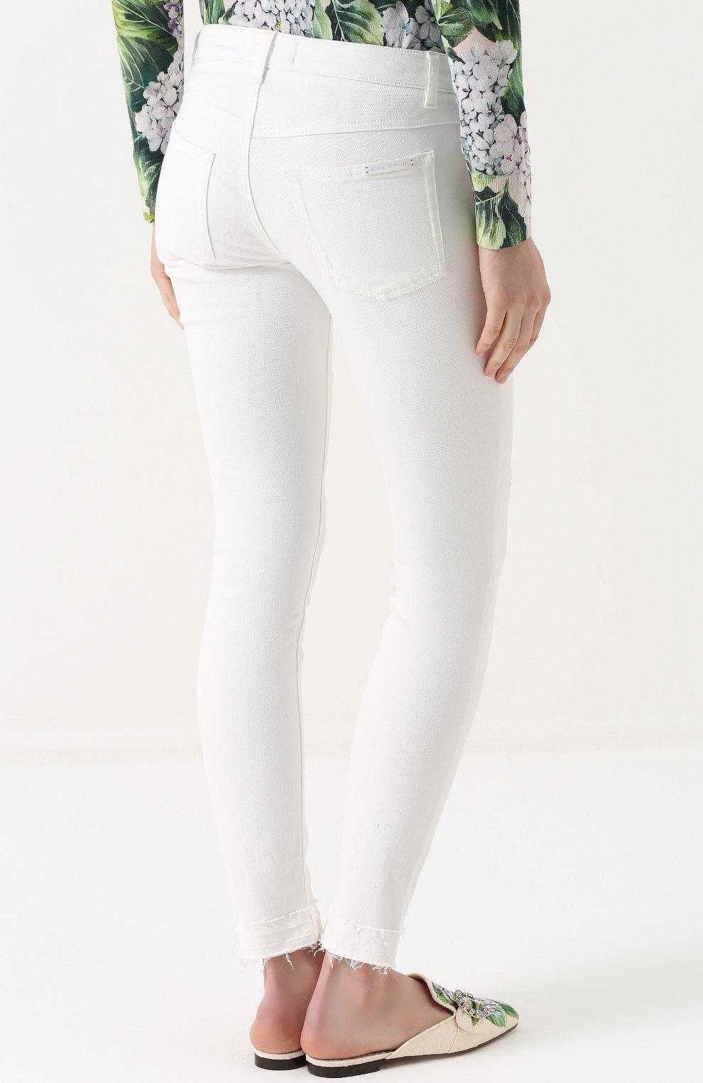 Джинсы-скинни с потертостями Dolce & Gabbana белые | Фото №4