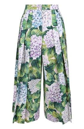 Укороченные брюки с цветочным принтом и складками Dolce & Gabbana зеленые | Фото №1