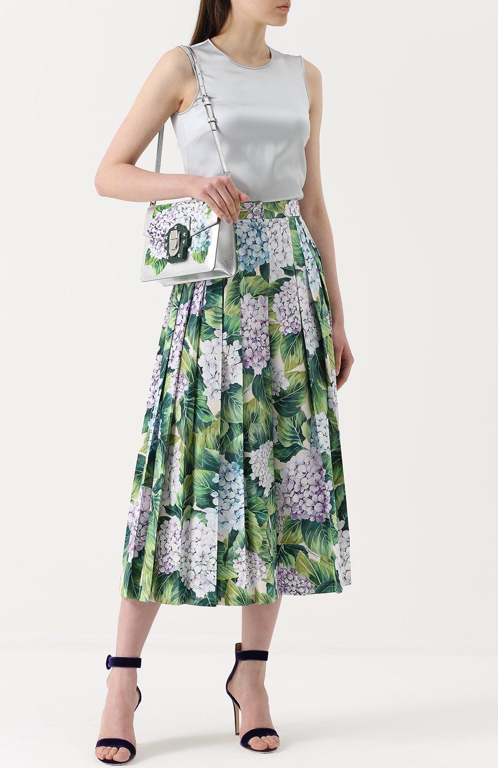 Укороченные брюки с цветочным принтом и складками Dolce & Gabbana зеленые | Фото №2