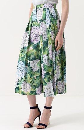 Укороченные брюки с цветочным принтом и складками Dolce & Gabbana зеленые | Фото №3