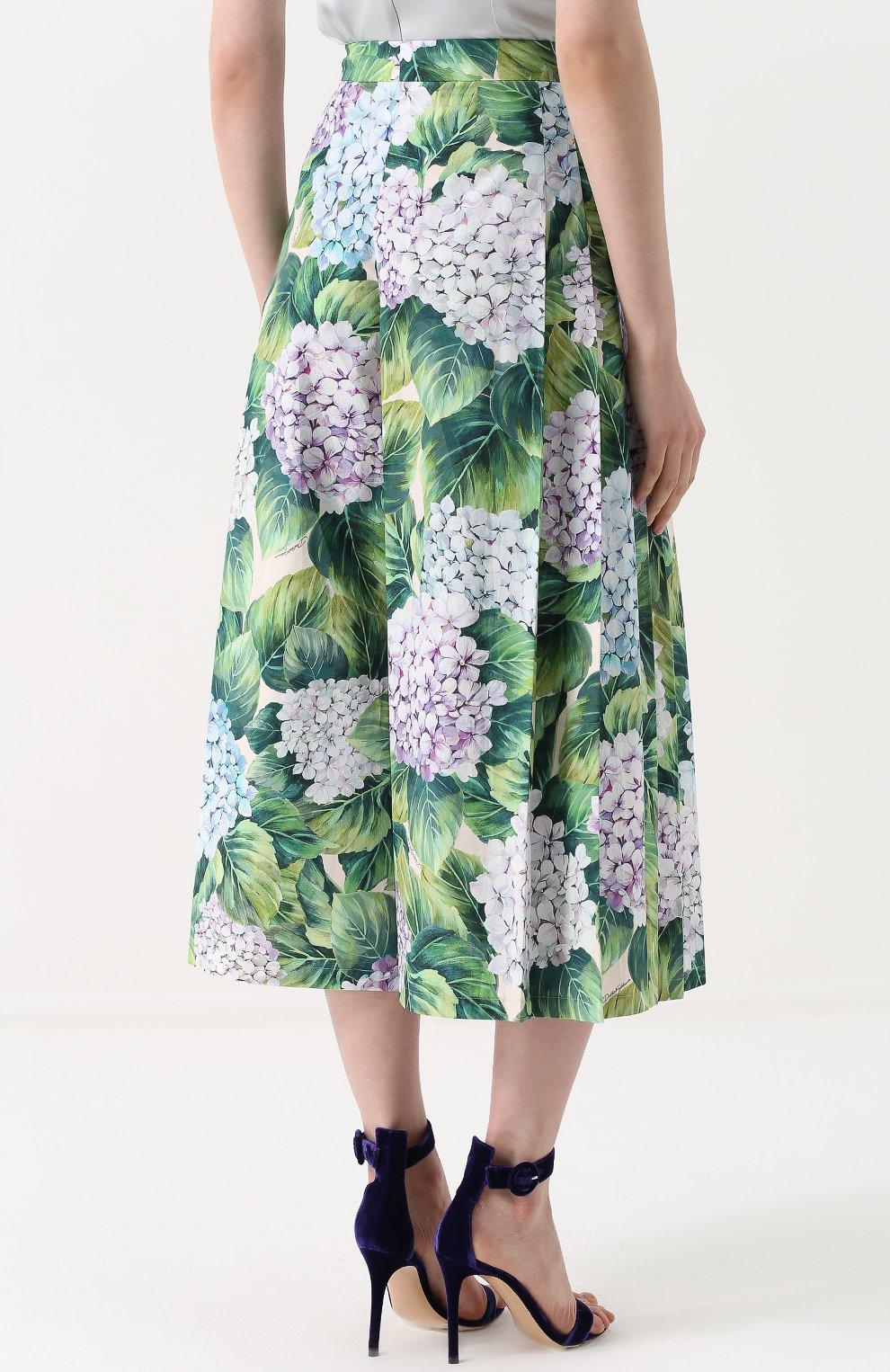 Укороченные брюки с цветочным принтом и складками Dolce & Gabbana зеленые | Фото №4