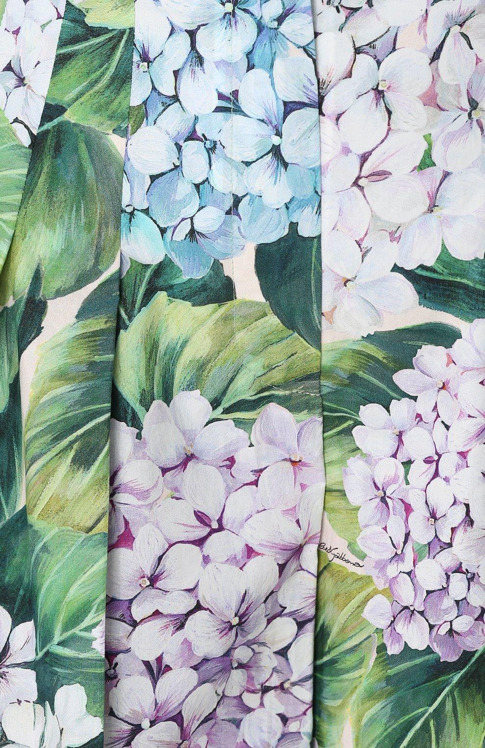 Укороченные брюки с цветочным принтом и складками Dolce & Gabbana зеленые | Фото №5