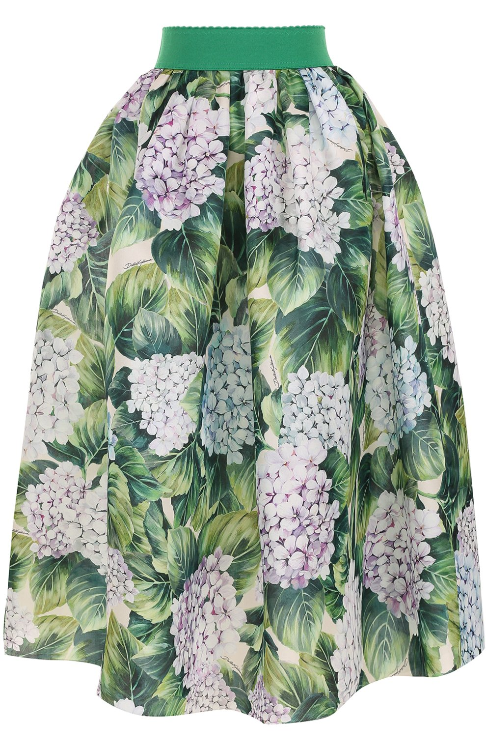 Шелковая юбка с цветочным принтом и широким поясом | Фото №1