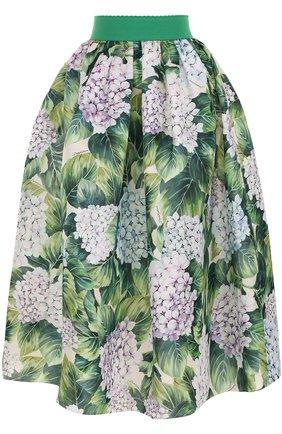 Шелковая юбка с цветочным принтом и широким поясом Dolce & Gabbana зеленая | Фото №1