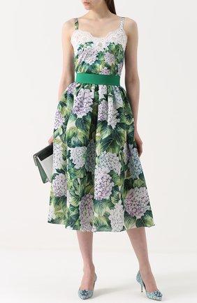 Шелковая юбка с цветочным принтом и широким поясом Dolce & Gabbana зеленая | Фото №2