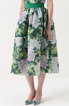 Шелковая юбка с цветочным принтом и широким поясом Dolce & Gabbana зеленая | Фото №3