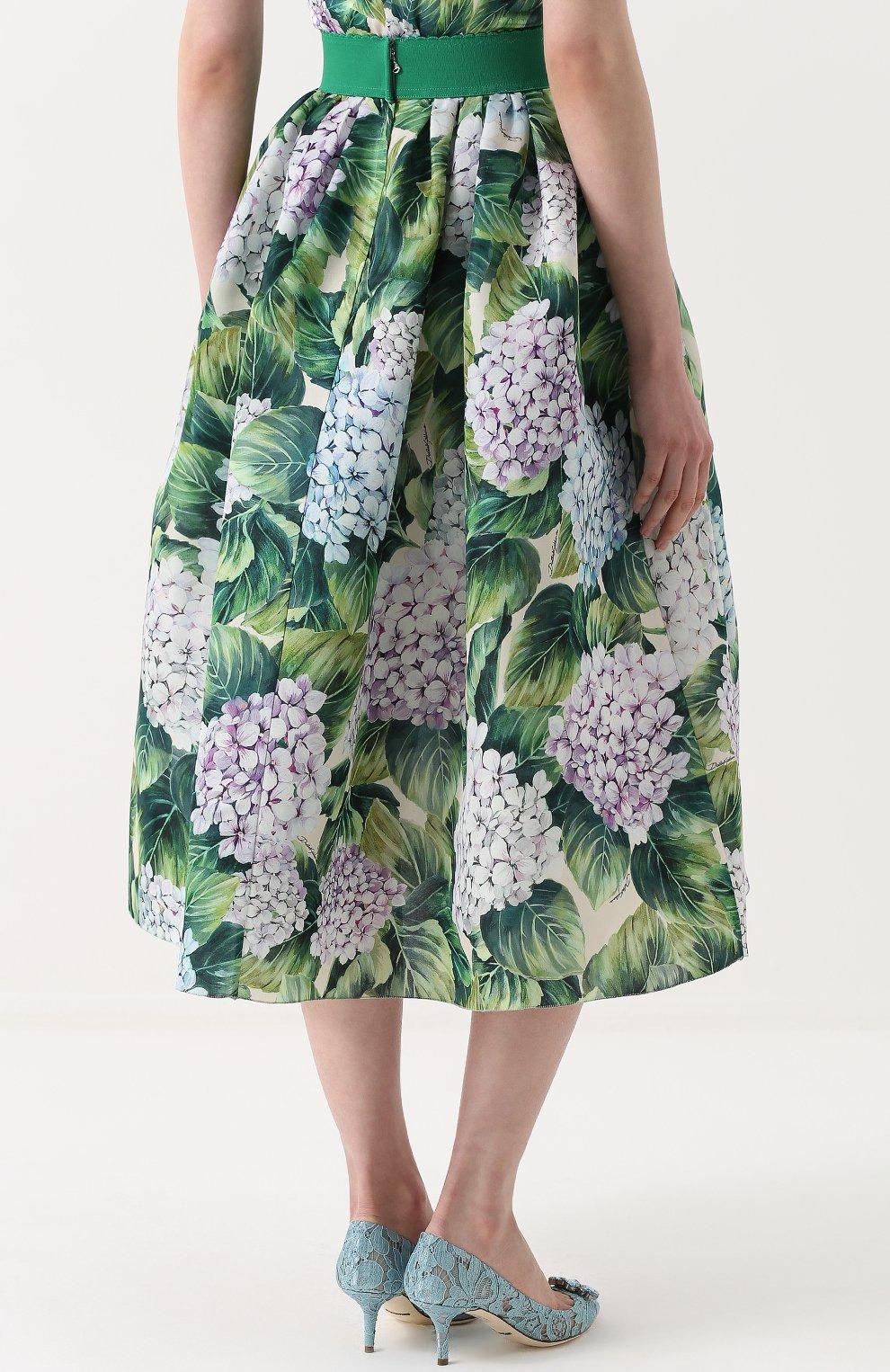 Шелковая юбка с цветочным принтом и широким поясом Dolce & Gabbana зеленая | Фото №4