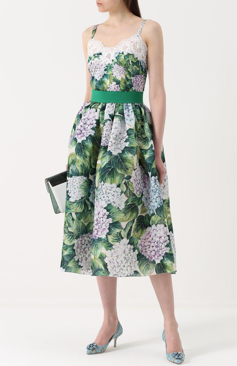 Топ с цветочным принтом и кружевной отделкой Dolce & Gabbana зеленый | Фото №2