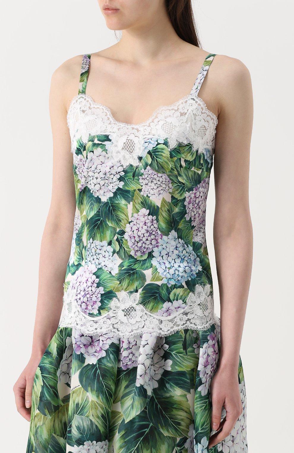 Топ с цветочным принтом и кружевной отделкой Dolce & Gabbana зеленый | Фото №3