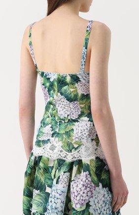 Топ с цветочным принтом и кружевной отделкой Dolce & Gabbana зеленый | Фото №4