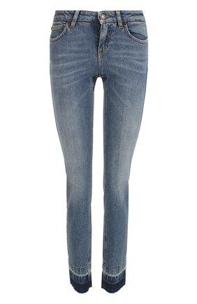 Женские джинсы-скинни с потертостями DOLCE & GABBANA синего цвета, арт. 0102/FTAQWD/G886T | Фото 1