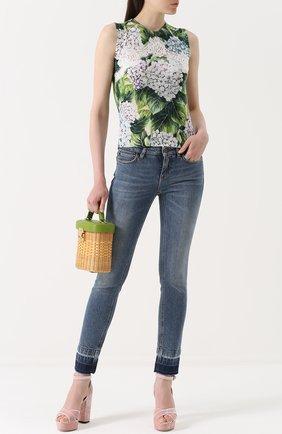 Женские джинсы-скинни с потертостями DOLCE & GABBANA синего цвета, арт. 0102/FTAQWD/G886T | Фото 2