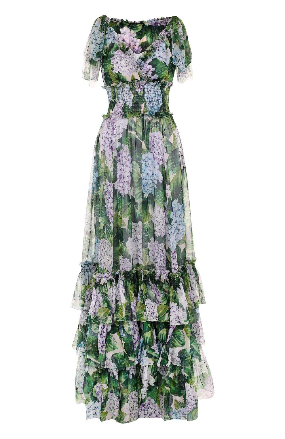 Шелковое платье с оборками и цветочным принтом | Фото №1