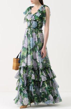 Шелковое платье с оборками и цветочным принтом | Фото №2