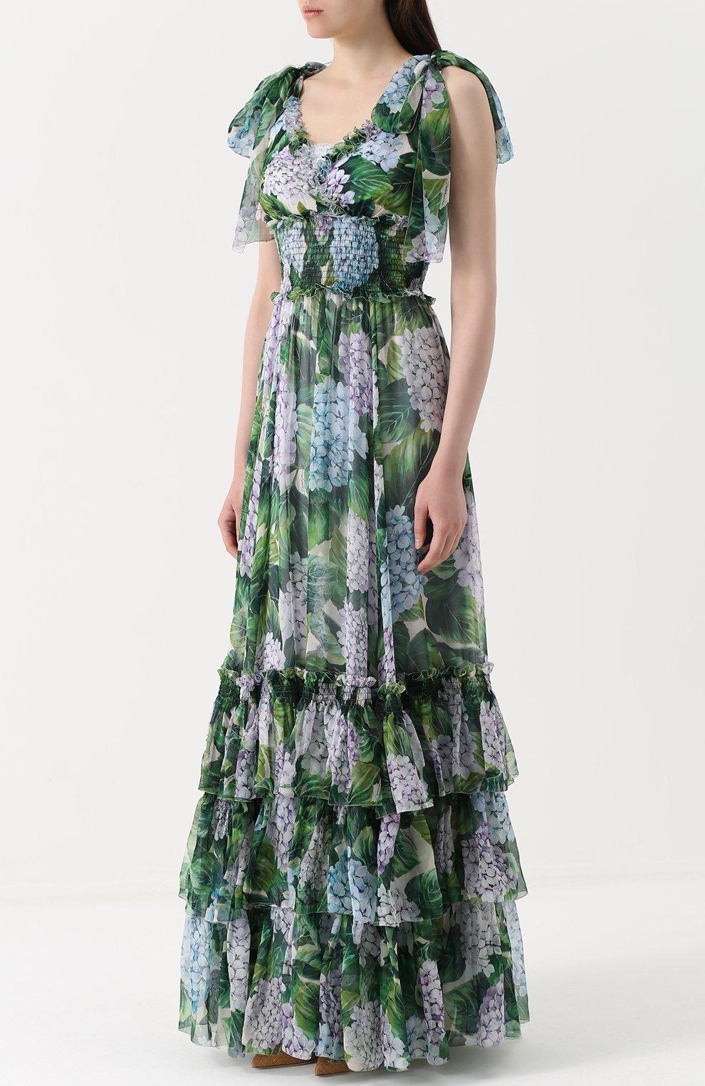 Шелковое платье с оборками и цветочным принтом | Фото №3