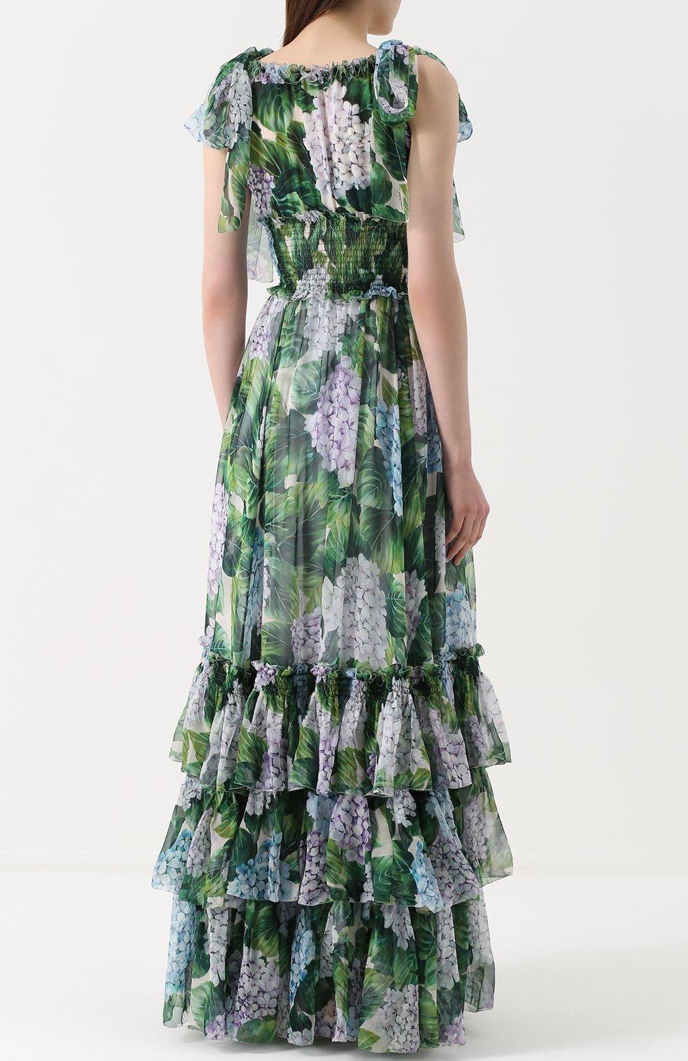 Шелковое платье с оборками и цветочным принтом | Фото №4