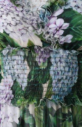 Шелковое платье с оборками и цветочным принтом | Фото №5