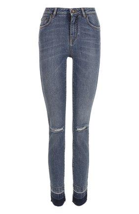 Женские джинсы-скинни с потертостями DOLCE & GABBANA синего цвета, арт. 0102/FTAQ1D/G885W | Фото 1