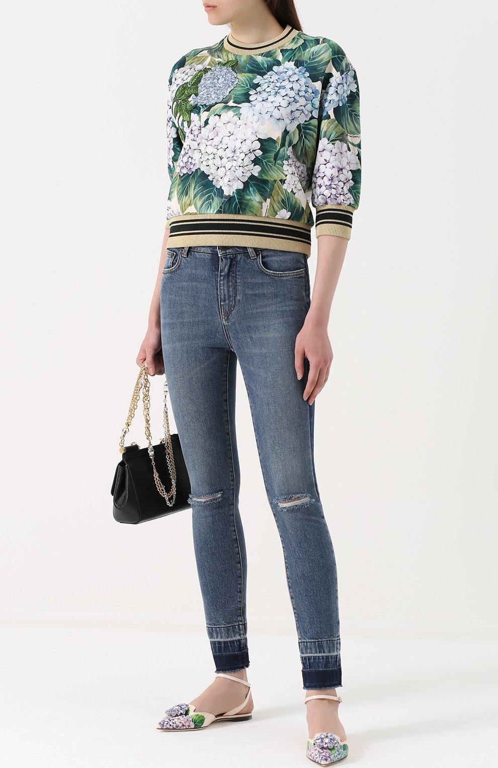 Джинсы-скинни с потертостями Dolce & Gabbana синие   Фото №2