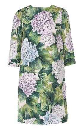 Шелковое мини-платье с цветочным принтом Dolce & Gabbana зеленое | Фото №1