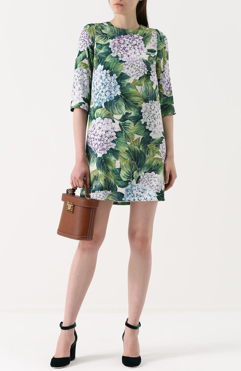 Шелковое мини-платье с цветочным принтом Dolce & Gabbana зеленое | Фото №2