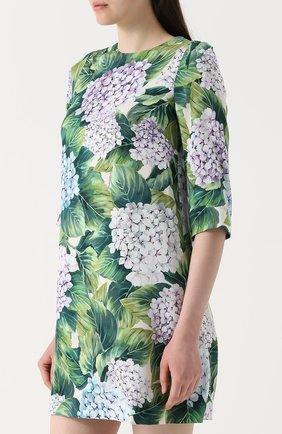Шелковое мини-платье с цветочным принтом Dolce & Gabbana зеленое | Фото №3
