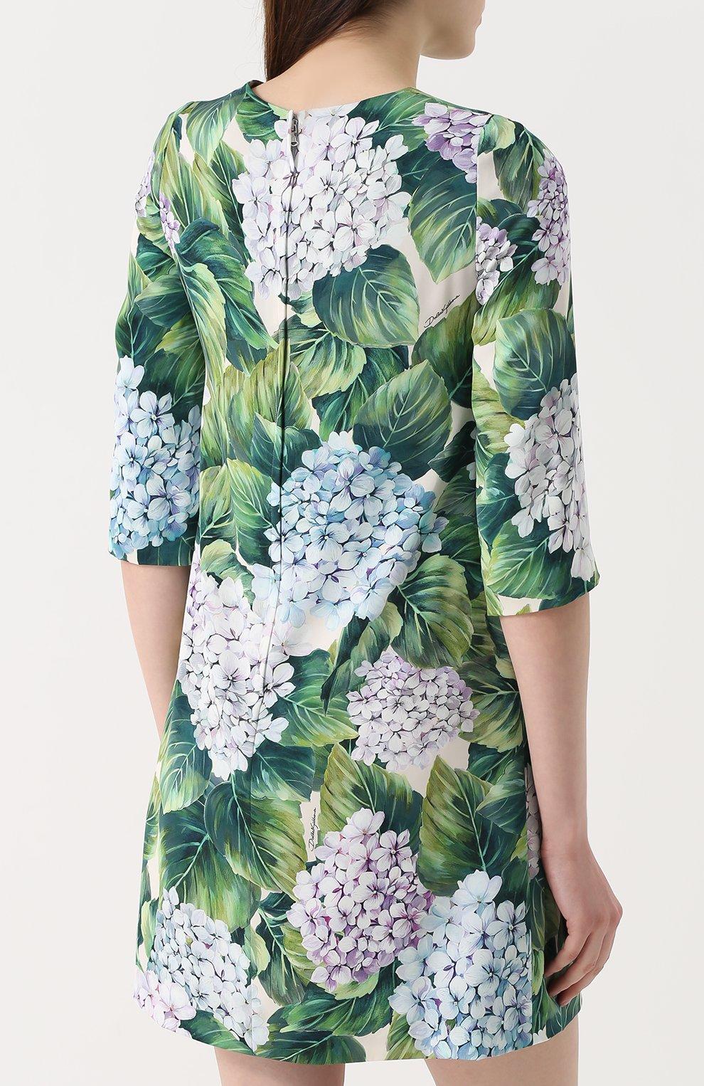 Шелковое мини-платье с цветочным принтом Dolce & Gabbana зеленое | Фото №4