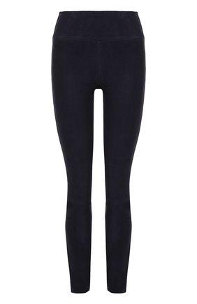 Замшевые брюки-скинни с завышенной талией | Фото №1
