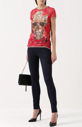 Женские замшевые брюки-скинни с завышенной талией SPRWMN синего цвета, арт. ANK-03-S | Фото 2