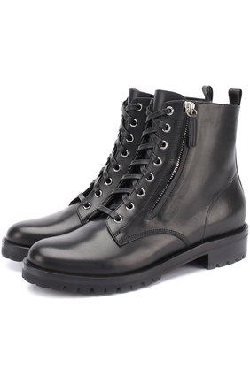Женские кожаные ботинки на шнуровке GIANVITO ROSSI черного цвета, арт. G70695.20CU0.VIP | Фото 1
