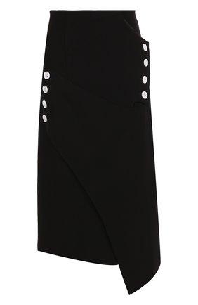 Юбка-миди асимметричного кроя Christopher Esber черная | Фото №1