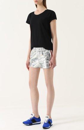 Мини-шорты с металлизированной отделкой | Фото №2