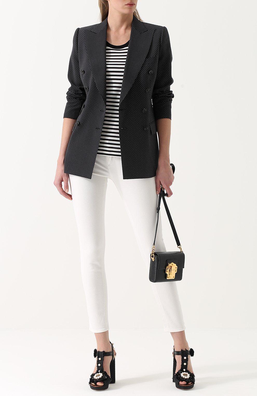 Топ прямого кроя в контрастную полоску Dolce & Gabbana черный | Фото №2