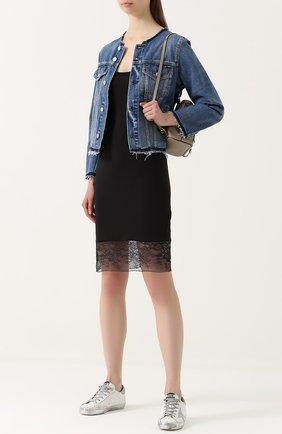 Приталенное мини-платье с кружевной вставкой Raquel Allegra черное | Фото №1