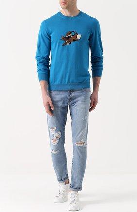 Хлопковый джемпер тонкой вязки с принтом Burri Milano синий   Фото №1