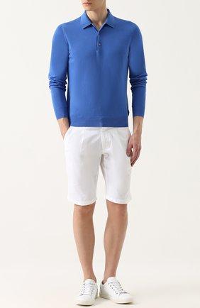 Хлопковое поло с длинными рукавами malo синее | Фото №1