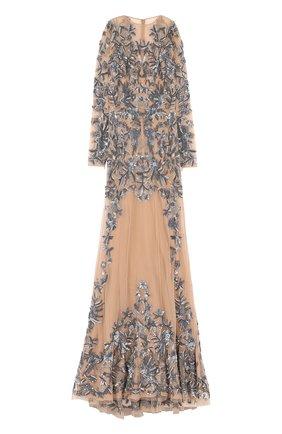 Приталенное платье-макси с вышивкой | Фото №1